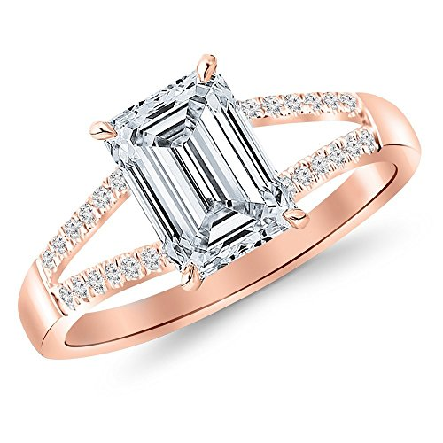 0.51 Ct Emerald Cut Diamond (14K Rose Gold 0.66 CTW Curving Split Shank Diamond Engagement Ring w/ 0.51 Ct GIA Certified Emerald Cut F Color VVS2 Clarity Center)