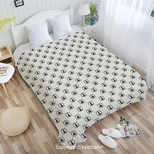 PUTIEN Super Soft Blankets for Couch Bed Birthday Marine Geometric Pattern Circles Aquatic Icons and Dotted Lines Diamond Motif Decorative Lightweight for Adults(49Wx59L)
