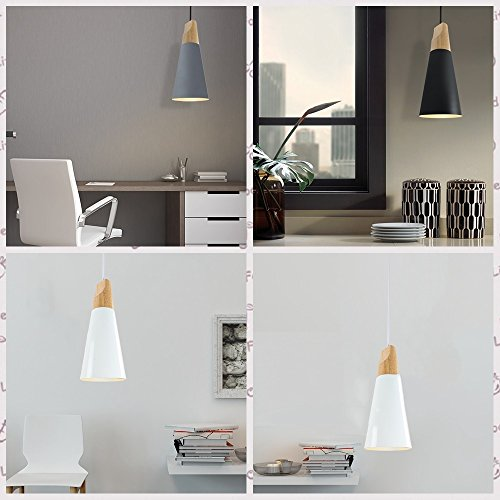 Iron Mini Chandelier, Postmodern LED Wood Dining Room Cafe Study Ceiling Lamp Nordic Aluminum Cafe Bedroom Small Pendant Light, Black, Gray, White ( Color : Yellow ) by HOIHO (Image #2)