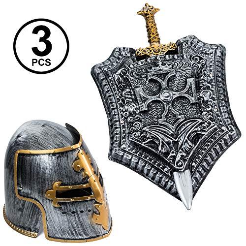 Tigerdoe Gladiator Costume - Helmet, Shield, Sword - Roman Armor - Knight - 3 Pc Set - Costumes for Men -