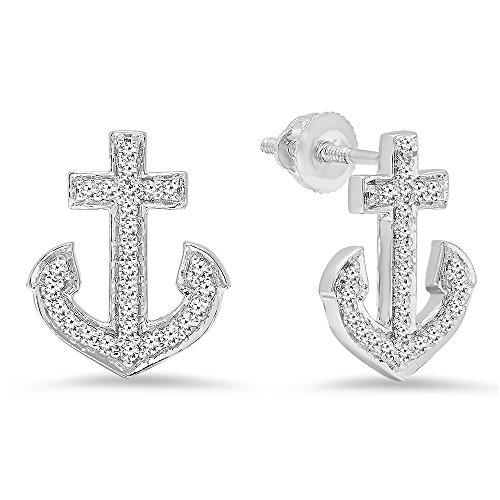 Dazzlingrock Collection 0.32 Carat (ctw) 14K Round Cut White Diamond Ladies Anchor Stud Earrings 1/3 CT, White ()