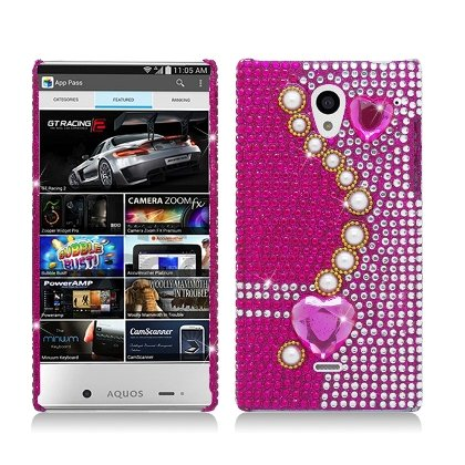 For Sharp Aquos Crystal SH306 (Virgin Mobile/Boost Mobile) Luxury Full Diamond, Pearl Pink, Back Cover (Aquos Boost Mobile)