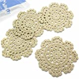kilofly Small Handmade Crochet Round Cotton Lace Table Placemats Doilies for Cup/Glass Value Pack [Set of 4], Medallion, 5 inch, Beige