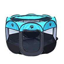 FYX Foldable Portable octagonal Pet Playpen waterproof cage kennel With Carry Bag Portable and Space Free 600D Oxford Cloth for Dog Cat Rabbit Puppy animal creature Indoor And Outdoor Playpen Crawl coop cage fence (large, Coffee and white)