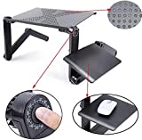 Laptop Table Stand for Bed,RAINBEAN Portable Vented Lap Desk Adjustable Notebook Riser with Mouse Pad Side,Work from Home,Foldable Computer Tray for Couch&Sofa,Aluminum Ergonomic Design Up to 17IN
