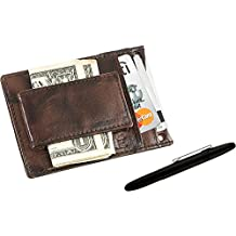 Suvelle Men's Leather Magnetic Money Clip Wallet with Fisher Space Pen Gift