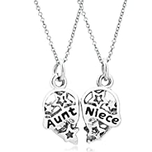 2 Pcs Aunt Niece Two Chains Pendant Necklace Heart-shape Hallow Out Star Love Charms Beads Gifts