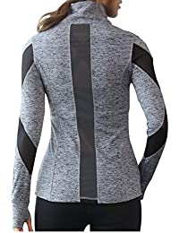 Women Slim Fit Athletic Running Yoga Fleece Lined Full-Zip Hand Pockets Turtleneck Workout Track
