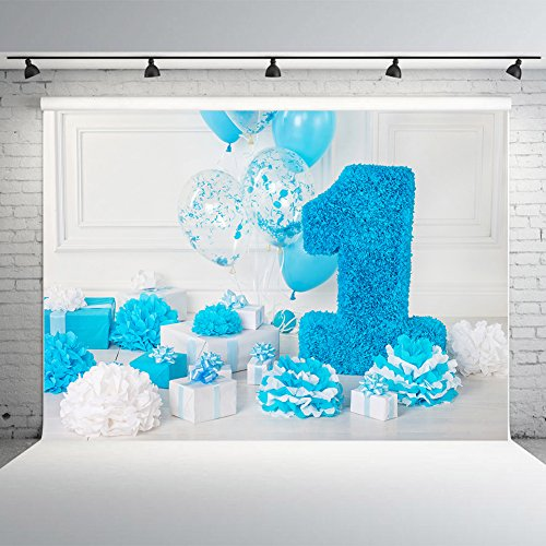 7x5ft Photography Backdrops Vinyl 1st Birthday Photo Studio Background Blue Balloons Boxes Party Banner for Decoration