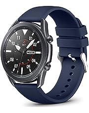 Vobafe 22mm Bandje Compatibel met Garmin Vivoactive 4/Samsung Galaxy Watch 46mm Bandje, Zachte Siliconen Bandje voor Samsung Galaxy Watch 3 45mm Bandje, Klein Blauw