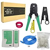 New Cable Tester +Crimp Crimper +70 Rj45 Cat6 Cat6e Connector Plug Network Tool Set 6 in 1 tools kit
