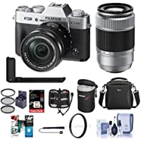 Fujifilm X-T20 24.3MP Mirrorless Camera with XC 16-50mm f/3.5-5.6 OIS II Lens, Silver -Bundle With Fujifilm XC 50-230mm F4.5-6.7 OIS II Lens Black, Fujifilm Metal Hand Grip And Free Accessory Bundle