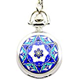 Chinese Blue and White Porcelain Style Silver Pendant Quartz Pocket Watch.