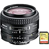 Nikon AF FX Full Frame NIKKOR 24mm f/2.8D Fixed Zoom Lens with Auto Focus (1919) with Sandisk 32GB Extreme SD Memory UHS-I Card