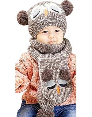 Baby Kids Girls Boys Owl Shaped Cap Winter Knitted Warmer Beanie Hat Scarf Set