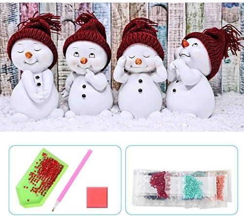 UPINS 5D DIY 20 x12 Inch Christmas Snowman Full Drill Rhinestone Diamond Art Painting Kits for Adult