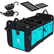 Trunkcratepro Premium Quality Collapsible Portable Heavy Duty Multi Compartments Trunk Organizer with non-skid bottom for auto, car, suv, truck, mini van, home, rv Cyan Green