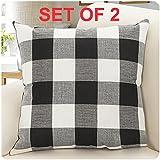 Burlap Farmhouse Decor Buffalo Checkers Plaid Cotton Linen Decorative Throw  Pillow Cover Rustic Cushion Cover Pillowcase