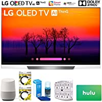 LG OLED65E8PUA 65 Class E8 OLED 4K HDR AI Smart TV 2018 Model (OLED65E8PUA) with Google Home, 2X 6ft HDMI Cable, Screen Cleaner for LED TVs, 6-Outlet Surge Adapter & $100 Hulu Plus Gift Card