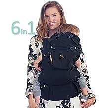 LÍLLÉbaby The COMPLETE Original SIX-Position, 360° Ergonomic Baby & Child Carrier, Black/Gold - Cotton Baby Carrier, Comfortable and Ergonomic, Multi-Position Carrying for Infants Babies Toddlers