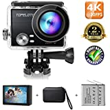 TOPELOTEK Action Camera 4K 30fps Wifi Waterproof Sports Camcorder 16MP Panasonic Sensor HiSilicon 170°Wide View Angle With 2 Rechargeable 1200mAh Batteries Mounting Accessories Kits
