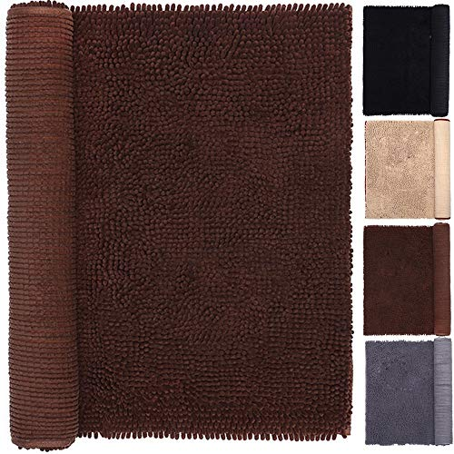 Dog Area Rug 3x5 Mat Bathrug Shaggy Brown 30 x 60 Inches Machine Washable Dry Ultra Soft Water Absorbent Chenille Indoor Doormat Kids Play Rugs Mats for Pet Dog Cat