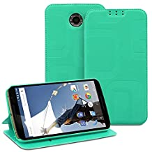 Fosmon® Google Nexus 6 Case (CADDY-RETRO) Leather Multipurpose Flip Cover Case with (Built-in Stand) for Motorola Nexus 6 - Fosmon Retail Packaging (Teal)