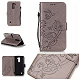 LG G4 Case Cover [with Free Screen Protector], Funyye Elegant Premium Folio PU Leather Wallet Magnetic Flip Cover with [Wrist Strap] and [Credit Card Holder Slots] Stand Function Book Type Stylish Butterfly Leaf Vines Designs Full Protection Holster Case Cover Skin Shell for LG G4 - Gray