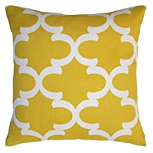 Huacel Throw Pillow Case, Cotton Canvas Quatrefoil Accent Decorative Throw Pillow Cover (Yellow, White, Square, 1 Cushion Sham for 18 x 18 Inserts)