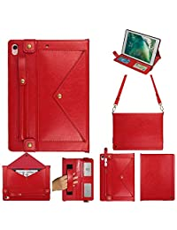 iPad Pro Cover,iPad 3rd Gen Cover Case with Pencil Holder,12.9 Inch iPad Shockproof Case with Shoulder Strap Hand Strap Carrying Defender Rugged Protective Case 4 Card Holder Extra Pocket Kickstand