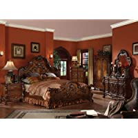 ACME 12134CK-SET Dresden 4-Piece Bed Set, 1 California King Bed/1 Nightstand/1 Mirror/1 Dresser, Cherry Oak Finish