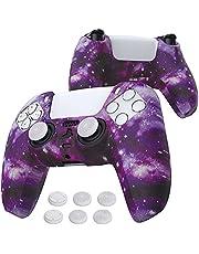 playvital Vattenöverföring tryck lila galaxmönstrad halkfri silikonskydd för PlayStation 5-kontroll, mjukt gummifodral skydd för PS5-kontroll med 6 tumgrepp kepsar