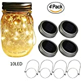Beego Solar Mason Jar Lids with 10 Led Fairy String Lights,4 Pack Lids and 4 Hangers Included, Auto On/Off Solar Mason Jar Lights, for Regular Mouth Jars(Jars Not Included)