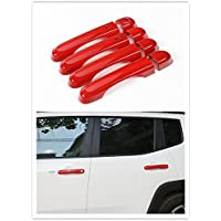 FMtoppeak 8 Pcs ABS Car Door Handle Cover Trim Frame for Jeep Renegade 2014 UP Red