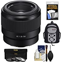 Sony Alpha E-Mount FE 50mm f/1.8 Lens with 3 Filters + Backpack + Kit for A7, A7R, A7S Mark II Cameras