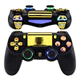 eXtremeRate Multi-Colors Luminated D-pad Thumbstick Trigger Home Face Buttons, Chrome Gold Classical Symbols Buttons DTFS (DTF 2.0) LED Kit for PS4 Slim PS4 Pro Controller - Controller NOT Included (Color: (DTF 2.0) LED Kit (F))