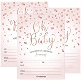 25 Blush Rose Gold Girl Oh Baby Shower Invitations,...