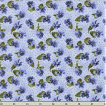 RJR Debbie Beaves 'Lovely' Small Blue Pansies on Soft Blue/Purple Cotton Fabric By the Yard