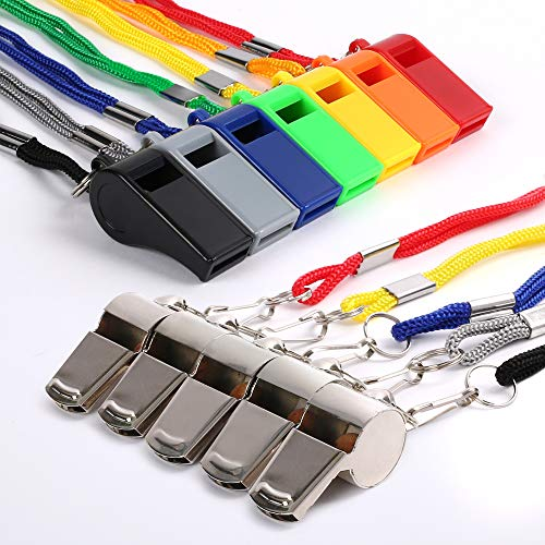 LotFancy 12 Pack Whistles with Lanyard, Coaching Referee Whistles, 5PCS Stainless Steel & 7PCS ABS Plastic Colorful Sports Whistles for Emergency, Survival, Lifeguard, Football, Basketball, Soccer