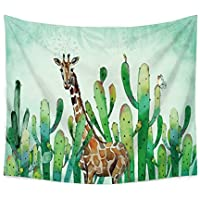 Chengsan Landscape Tapestry Watercolor Headboard, Cactus Wall Tapestry Mandala Tapestry Bohemian Tapestry Cactus Tapestry Indian Wall Decor Hippie Tapestry Headboard Home Decor (2, 51x59 inch)