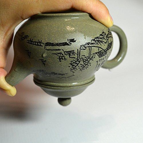 Teapot 6.6oz/200ml Yixing green Zisha tea pots mud landscapes