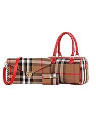 Lunas Women's 3Pcs Plaid Boston Top Handle Bag Cross-body Bag Card Bag Set