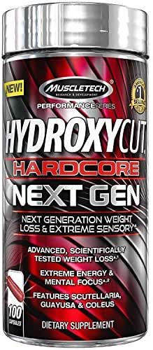Hydroxycut Hardcore Next Gen, Scientifically Tested Weight Loss and Energy, Weight Loss Supplement, 100 Capsules