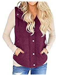 YONYWA Womens Vest Lightweight Quilted Drawstring Jacket Casual Button Closure Outerwear