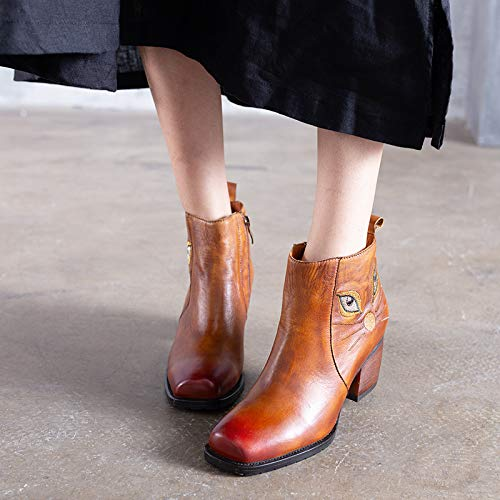 ZHRUI Muster Frauen Stiefel Cute Leder Block Block Leder Zipper Vintage Schuhe (Farbe   Braun, Größe   EU 38) 459819