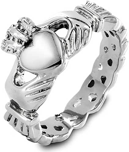 316l Stainless Steel Women's Claddagh Ring Love Heart Celtic Knot Crown Engagement Wedding Band