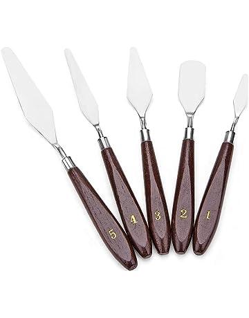 JZK® 5 unids Paleta de Acero Inoxidable Cuchillo Conjunto Mixto espatulas Cuchillos para Artista Pintura