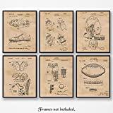 Original Football Patent Art Poster Prints - Set of 6 (Six) Photos - 8x10 Unframed - Great Vintage Wall Art Decor Gifts for Football Players, NFL, NCAA Pigskin fans, Man Cave, Boy's Room, Gym, Office