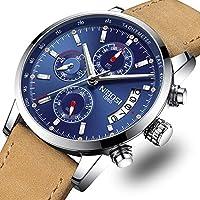 NIBOSI Mens Watches Leather Analog Quartz Watch Men Date Business Dress Wristwatch Men's Waterproof Sport Clock (Silver Blue)
