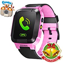 GBD GPS Tracker Kids Smart Watch for Children Girls Boys Holiday Birthday Gifts with Camera SIM Calls Anti-lost SOS Smartwatch Bracelet for iPhone Android Smartphone (PinkBlack)